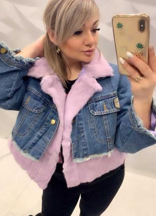 Легкая джинсовка с натуральным мехом кролика! супер цена! размер: m, l, xl