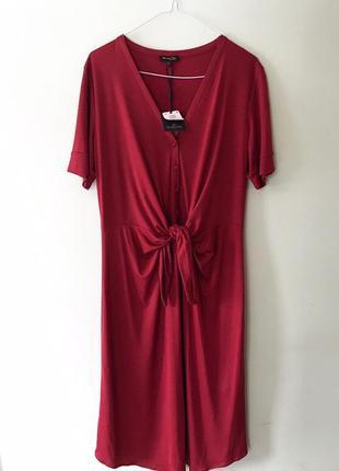 Новое красное платье до колена massimo dutti