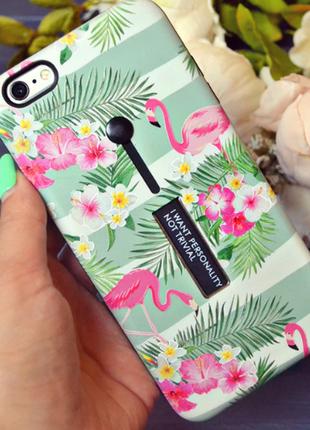 Чехол на iphone 6s plus б.у. с фламинго с подставкой и держателем