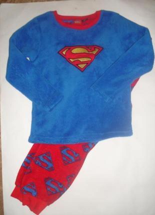 Теплая пушистая пижама супермена мальчику 7-8 лет идеал