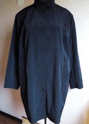 Стильный демисезонный чёрный плащ батал 66/68 размер