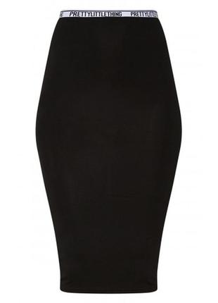 Чёрная миди юбка карандаш prettylittlething