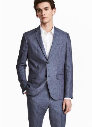 Мужской пиджак из смеси льна h&m 48-l