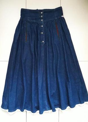 Джинсовая синяя юбка клеш миди ultimo