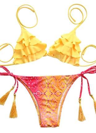 Шикарный раздельный купальник с кисточками и рюшами бикини