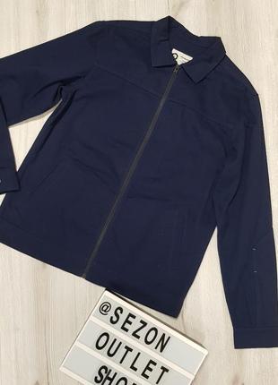 Темно-синяя хлопковая куртка-рубашка jack&jones