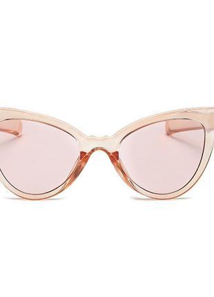 Стильные очки солнцезащитные кошачий глаз оранжевый