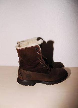 Коричневые ботинки timberland на меху, оригинал