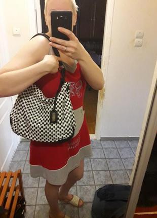 Кожаная сумка  emporio armani оригинал made in italy брендовая черная/белая