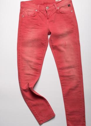 Червоні джинси скіні з ефектом потертості ltb
