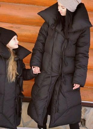Мега теплый пуховик-одеяло на завязках
