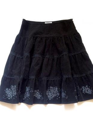 Вельветовая юбка с вышивкой zara trf