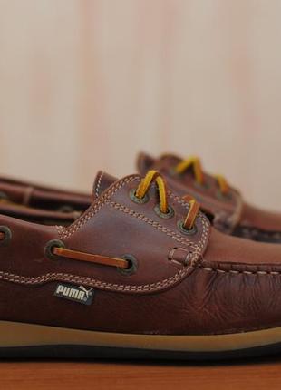 Кожаные коричневые мужские туфли, топсайдеры с мембраной puma. 45 размер. оригинал