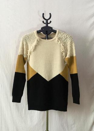 Стильный мохеровый шерстяной красный вязаный свитер