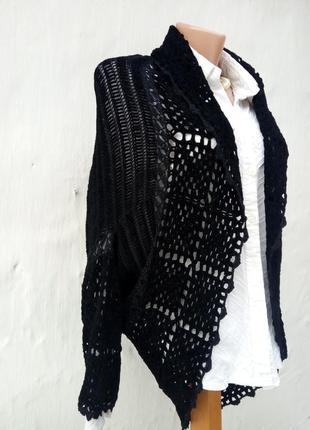 Очень красивое черное вязаное ажурное комбинированное болеро,вилюр,накидка.