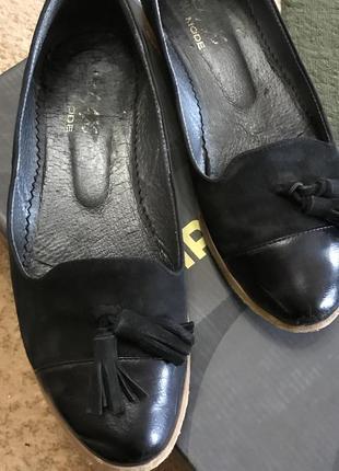 Кожаные туфли-балетки