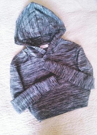 Кофточка в серо-черною полосочку с капюшоном h&m