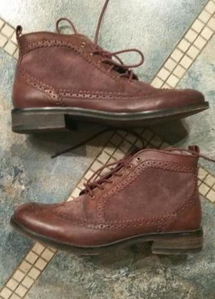 Ботинки-оксфорды демисезон pull&bear нат. кожа 39 р.