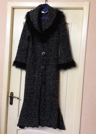 Вязаное длинное пальто кардиган s