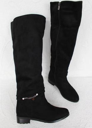 Зимние высокие сапоги, ботфорты 38 размера на низком ходу