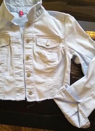 Трендовый укороченный пиджак h&m с необработаным краем хс