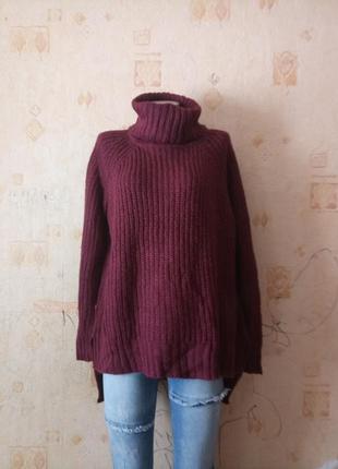 Крутой бойфренд свитер оверсайз марсала amisu