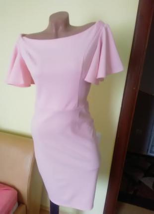 Платье с воланом 46р пудра