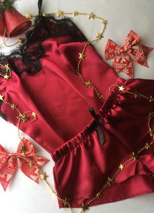 Атласная пижама с кружевом. размер 42 s бордо, вишня