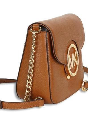 Номерная оригинальная кожаная сумка michael kors орехового цвета