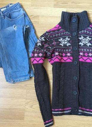 Серая теплая шерстяная  кофта свитер под горло colours of the world