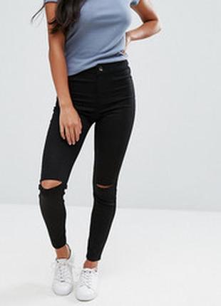 """Черные джинсы с рваными коленями """"river island"""" размер 30/30"""