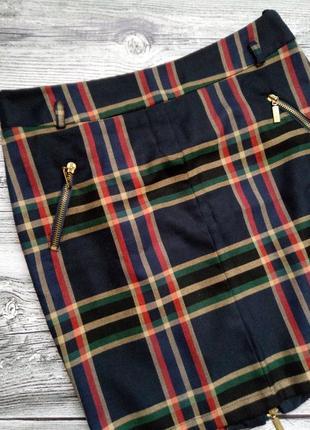 Модная юбка в клетку. на подкладке. размер м