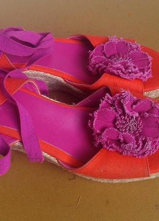 Новые испанские босоножки текстиль +кожа