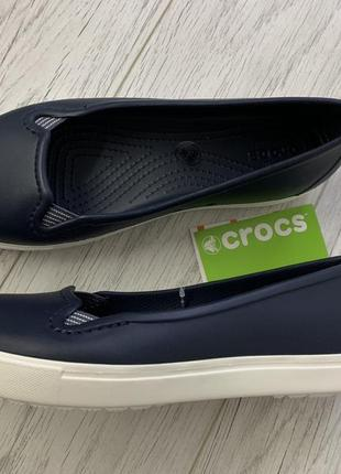 Балетки crocs womens citilane flat - синие