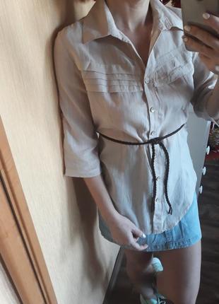 Рубашка удлиненная с пояском
