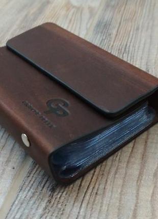 Темно коричнеевая визитница на 48 карточек,  gp grande pelle. кожа 100%