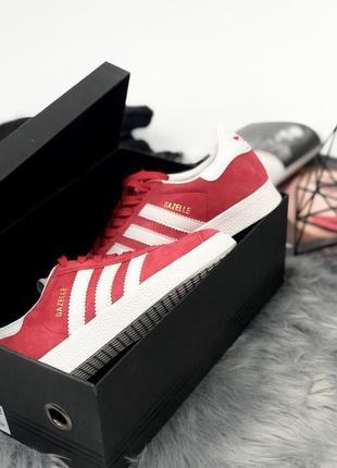 Шикарные женские кроссовки adidas gazelle red (весна/ лето/ осень)