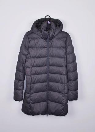 Пуховик uniqlo size m l парка зимняя куртка с капюшоном серая теплая женская курточка