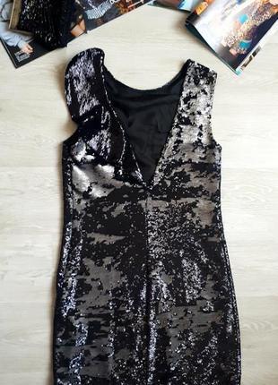 Платье в 2 сторонних пайетках / блестящее платье / серебряное платье pinko