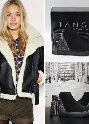 Ботинки из натуральной замши европейского бренда tango черные, р. 37, 38, 40