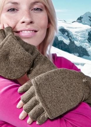 Перчатки-варежки трикотажно- флисовые 2 в 1 тсм чибо германия размер 6.5
