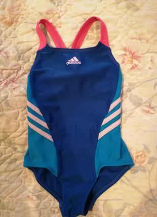 Стильный очень яркий купальник adidas на девочку в бассейн или на пляж2