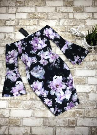 Нереальное платье в цветах, ткань креп по фигуре с открытыми плечами