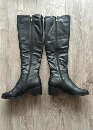 Сапоги зимние respect, чёрные кожаные на меху, высокие до колена облегающие