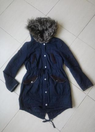 Куртка парка деми м темно синяя курточка