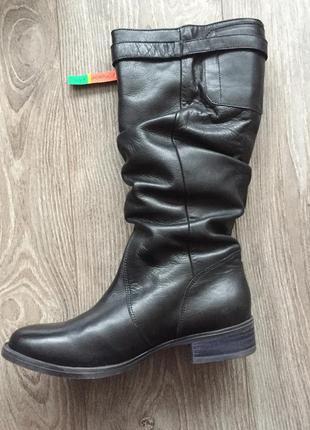 Новые зимние сапоги respect; 38, еврозима, чёрные кожаные, широкое голенище-гармошка