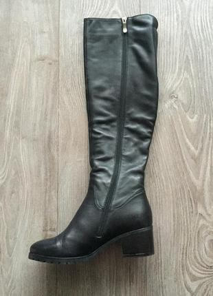 Зимние сапоги respect, 38, чёрные, кожаные на меху, натуральная кожа, высокие, облегающие