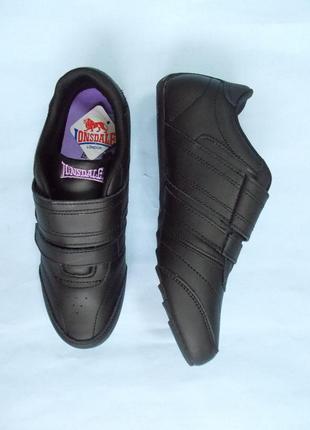 Lonsdale черные кожаные женские кроссовки /повседневные кроссовки/кроссовки на липучке