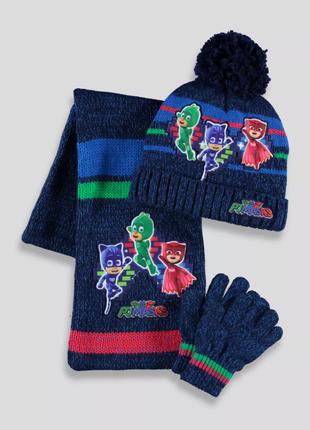 Теплый набор pj masks (шапка, шарф, перчатки герои в масках) 2-4 года