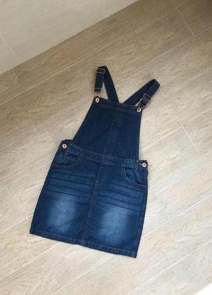 Женский джинсовый комбинезон с юбкой синего цвета